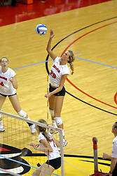 31 OCT 2008: Mallory Leggett makes a stike from the middle during a match in which the Missouri State Bears defeated the Redbirds of Illinois State 3 sets to 2 on Doug Collins Court inside Redbird Arena in Normal Illinois