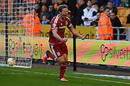 Middlesbrough midfielder Grant Leadbitter celebrates scoring penalty during the Sky Bet Championship match between Wolverhampton Wanderers and Middlesbrough at Molineux, Wolverhampton, England on 24 October 2015. Photo by Alan Franklin.