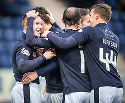 Falkirk's John Baird celebrates after scoring their second goal. <br /> Falkirk 5 v 0 Alloa Athletic, Scottish Championship game played at The Falkirk Stadium.