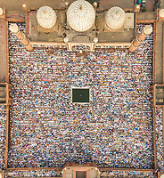 DELHI, INDIA - 5 JUNE 2019: Aerial view of devotees at prayer during Eid al-Fitr at Jama Masjid mosque. Eid al-Fitr is a religious holiday celebrated by Muslims that marks the end of Ramadan.