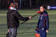 BILTHOVEN -  Hoofdklasse competitiewedstrijd dames, SCHC v hdm, seizoen 2020-2021.<br /> Foto: Ginella Zerbo (SCHC) heeft interview voor RTV Utrecht
