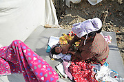 Dec. 29, 2015 - Kathmandu, NP, Nepal -<br /> <br /> Earthquake Survivors struggling in temporary Tent on Winter Season<br /> <br /> Grandmother of PRISHA MAHARJAN, 10 months old, applying mustard oil, which can offer numerous health benefits for infants and kids. Some of which are that it is very good for baby massage, it can keep the body warm during winters, on 29 December, 2015 at Panga, Kirtipur, Kathmandu, Nepal. Most of houses in Panga, Kirtipur were destroyed by recent earthquake on April 25, 2015, a magnitude of 7.8 earthquake killing over 8,000 of people in Nepal and thousands of injured, which Outcomes Hundreds of people were homeless with entire villages across many districts of the country. <br /> ©Exclusivepix Media