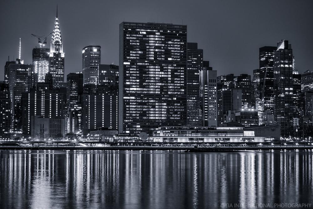 Chrysler Building (left) & United Nations Headquarters (center), Midtown (monochrome)