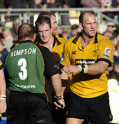 Northampton, Northamptonshire, 2nd October 2004 Northampton Saints vs London Wasps, Zurich Premiership Rugby, Franklyn Gardens, [Mandatory Credit: Peter Spurrier/Intersport Images],<br /> End of the game, Lawrence Dallaglio shakes with Saints Robbie Kempson. centre Richard Birkett.