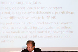 Mag. Ivan Simic, president of Slovenian Football Federation NZS at press conference about his reationships to SPINS, on November 5, 2010, in Ljubljana, Slovenia. (Photo by Vid Ponikvar / Sportida)