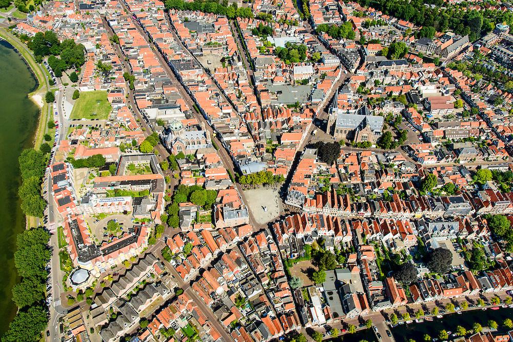 Nederland, Noord-Holland, Gemeente Hoorn, 05-08-2014; binnenstad van Hoorn rond het plein De Roode Steen.<br /> Town center Hoorn.<br /> luchtfoto (toeslag op standard tarieven);<br /> aerial photo (additional fee required);<br /> copyright foto/photo Siebe Swart