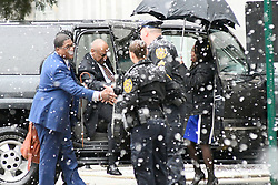 Bill Cosby arrives at the Courthouse in Norristown, PA on Monday, ahead of the jury selection for the retrail in the sexual assault case against the 80 year old entertainer/comedian. (Bastiaan Slabbers/ for WHYY)
