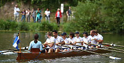 The Duchess of Cambridge cox a boat against her husband, the Duke of Cambridge, in a competitive race between the twinned town of Cambridge and Heidelberg, in Heidelberg, Germany.