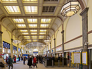 1930s Art Deco interior of central railway  station concourse, Cardiff, South Wales, UK