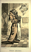 """Camaldule Monk - Monachus Camaldulensis from the book ' Monachologia, or, Handbook of the natural history of monks : arranged according to the Linnean system ' by Born, Ignaz Edler von, 1742-1791; Krasinski, Walerian, 1780-1855 Published in 1852 in Edinburgh by Johnstone & Hunter. This is a  Victorian anti-Catholic/anti-European satire or parody written in pseudo-scientific natural history jargon, complaining of the laziness, odd dress & weird habits (literally!), strange hours & stranger noises of various orders of monks, deposited of British shores by Papist Europeans of little merit and bad intent. Each major order of Monk is depicted & described in most unflattering terms. """"Hence it is evident, that the monk forms a distinct class of mammalia, which holds a middle place, and forms a connecting link between man and monkey."""""""
