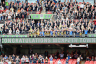 The trophy lift by players of Morpeth Town after the FA Vase match between Hereford FC  and Morpeth Town at Wembley Stadium, London, England on 22 May 2016. Photo by Dennis Goodwin.