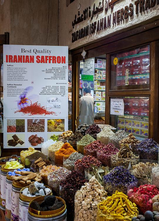 UNITED ARAB EMIRATES, DUBAI - CIRCA JANUARY 2017: Typical store around the spice market in Deira, Dubai.