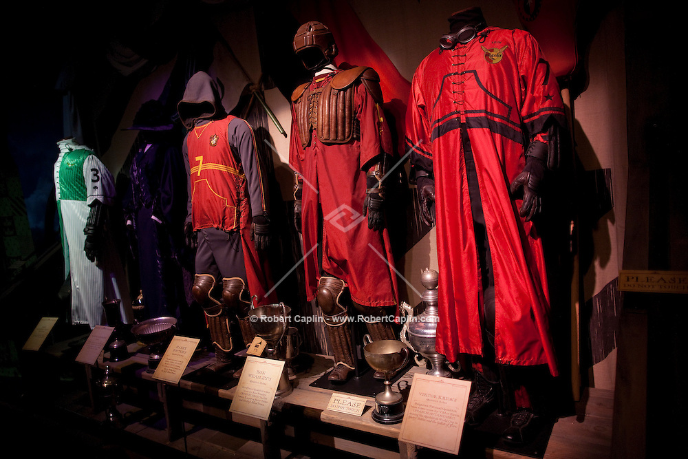 """Quidditch costumes at the """"Harry Potter"""" exhibition at Discovery Times in New York. ..Photo by Robert Caplin."""