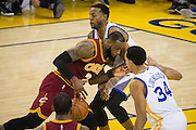 Cleveland Cavaliers forward LeBron James (23) takes the ball to the basket against the Golden State Warriors at Oracle Arena in Oakland, Calif., on January 16, 2017. (Stan Olszewski/Special to S.F. Examiner)