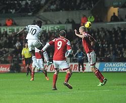 Swansea City's Wilfried Bony heads towards goal. - Photo mandatory by-line: Alex James/JMP - Tel: Mobile: 07966 386802 28/01/2014 - SPORT - FOOTBALL - Liberty Stadium - Swansea - Swansea City v Fulham - Barclays Premier League