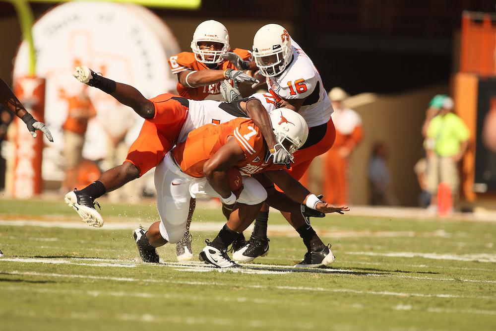 John Chiles, quarterback, Texas Longhorns. Oklahoma State Cowboys at Texas Longhorns. Darrell K. Royal-Texas Memorial Stadium, Austin, TX, October 26 2008. Photograph © 2008 Darren Carroll.