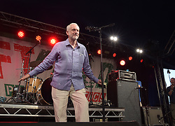 Labour leader Jeremy Corbyn addresses the crowd from the stage at LeftField at Glastonbury Festival, at Worthy Farm in Somerset.