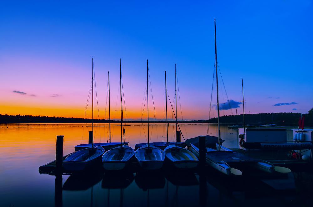 Sailboats on Lake Washington at Coulon Beach in Renton.