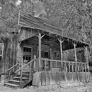 Wooden Storefront Shack - Golden, Oregon - HDR - Infrared Black & White