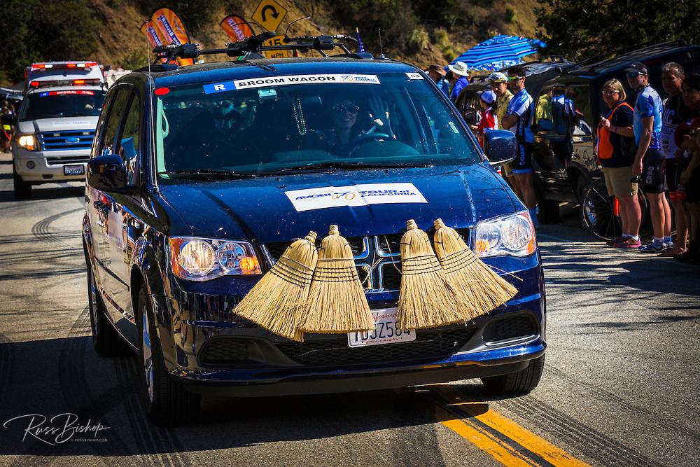 Sweeper car at the Amgen Tour of California, Santa Monica Mountains, California USA