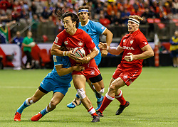 March 10, 2018 - Vancouver, British Columbia, U.S. - VANCOUVER, BC - MARCH 10: Nathan Hirayama (#9) of Canada captures an errant pas and moves upfield during Game # 23- Canada vs Uruguay Pool A match at the Canada Sevens held March 10-11, 2018 in BC Place Stadium in Vancouver, BC. (Photo by Allan Hamilton/Icon Sportswire) (Credit Image: © Allan Hamilton/Icon SMI via ZUMA Press)
