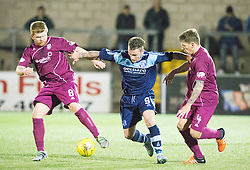 Arbroath's Ryan McCord, Forfar Athletic's David Cox and Arbroath's Ricky Little. Forfar Athletic 0 v 1 Arbroath, Scottish Football League Division Two game played 10/12/2016 at Station Park.