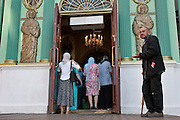Moscow, Russia, 14/06/2006.&#xA;Disabled beggar outside church at the entrance to Red Square.<br />