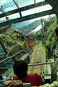 Floibanen funicular railway train carriage, Bergen, Norway