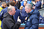 Leeds United Manager Steve Evans (l) makes his point to Blackburn Rovers Manager Paul Lambert prior to kick off. Skybet football league Championship match, Blackburn Rovers v Leeds United at Ewood Park in Blackburn, Lancs on Saturday 12th March 2016.<br /> pic by Chris Stading, Andrew Orchard sports photography.
