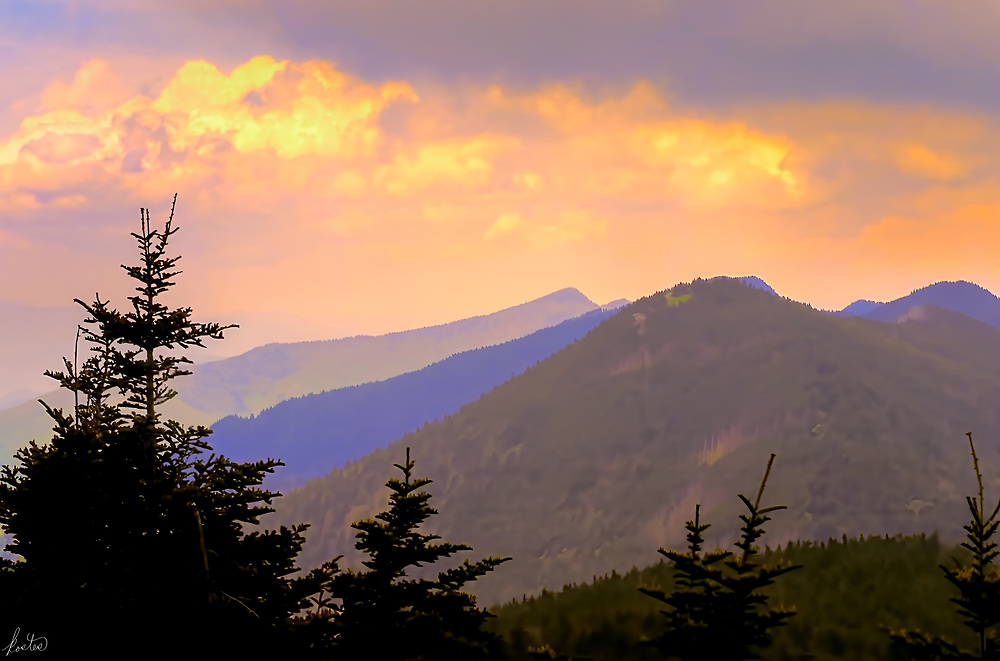 A view from Mt. Mitchell at sunset.