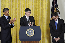 U.S. President Barack Obama (L) and White House Chief of Staff Jacob Lew (C) applaud for outgoing Treasury Secretary Timothy Geithner during a nomination ceremony in the East Room of the White House in Washington D.C., capital of the United States, Jan. 10, 2013. U.S. President Barack Obama on Thursday picked White House Chief of Staff Jacob Lew as the next Treasury Secretary succeeding Timothy Geithner, a big step of shaping his economic team, January 10, 2013. Photo by Imago / i-Images...UK ONLY