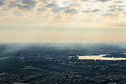 Nederland, Flevoland, Gemeente Almere, 27-08-2013; skyline Almere-centrum, Stadshart met Weerwater in de vroege ochtend.<br /> View on Almere center in the early morning.<br /> luchtfoto (toeslag op standaard tarieven);<br /> aerial photo (additional fee required);<br /> copyright foto/photo Siebe Swart.