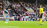Referee Massimiliano Irrati points to the spot<br /> <br /> Photographer Alex Dodd/CameraSport<br /> <br /> UEFA Europa League - Europa League Qualifying Round 2 2nd Leg - Burnley v Aberdeen - Thursday 2nd August 2018 - Turf Moor - Burnley<br />  <br /> World Copyright © 2018 CameraSport. All rights reserved. 43 Linden Ave. Countesthorpe. Leicester. England. LE8 5PG - Tel: +44 (0) 116 277 4147 - admin@camerasport.com - www.camerasport.com