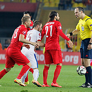Referee Jonas Eriksson (R) during their UEFA Euro 2016 qualification Group A soccer match Turkey betwen Czech Republic at Sukru Saracoglu stadium in Istanbul October 10, 2014. Photo by Aykut AKICI/TURKPIX