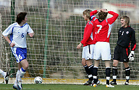 Fotball<br /> La Manga 2006<br /> Landskamp U19 / U19 tournament<br /> Norge v Finland / Norway v Finland 1-0<br /> 27.02.2006<br /> Foto: Morten Olsen, Digitalsport<br /> <br /> 1-0 to Finland. The Norwegian goalkeeper Andreas Lie - Aalesund is not satisfied. His twin brother Oddbjørn Lie - Aalesund (left) and Steinar Strømsnes - Vålerenga (right). Petri Viljanen - Haka (6).