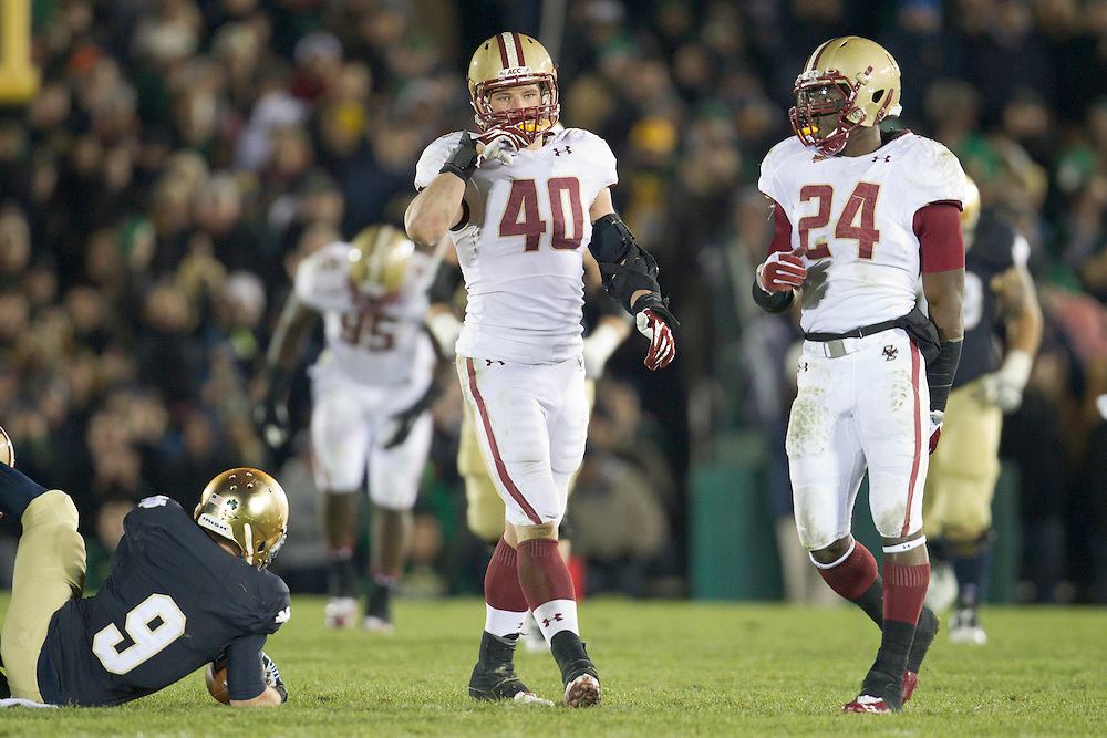 Boston College linebackers Luke Kuechly (#40) and Kevin Pierre-Louis (#24) during fourth quarter of NCAA football game between Notre Dame and Boston College.  The Notre Dame Fighting Irish defeated the Boston College Eagles 16-14 in game at Notre Dame Stadium in South Bend, Indiana.