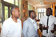 24 June 2010- Miami Beach, Florida- l to r: Bernard Bronner, Jeff Friday and  Idris Elba at the The 2010 American Black Film Festival Founder's Brunch held at Emeril's on June 24, 2010. Photo Credit: Terrence Jennings/Sipa