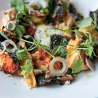 A beautiful plate of foraged chicken of the woods mushrooms, ramps, and a poached egg at Chef Katie Button's restaurant Nightbell, which is located at 32 S Lexington Avenue in Downtown Asheville, North Carolina.