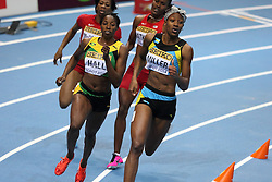 08.03.2014, Ergo Arena, Sopot, POL, IAAF, Leichtathletik Indoor WM, Sopot 2014, im Bild Francena McCorory (USA) wins 400 Metres final Shaunae Miller (BAH) (R) and Patricia Hall (Jamaica) competite during the run // Francena McCorory (USA) wins 400 Metres final Shaunae Miller (BAH) (R) and Patricia Hall (Jamaica) competite during the run during day two of IAAF World Indoor Championships Sopot 2014 at the Ergo Arena in Sopot, Poland on 2014/03/08. EXPA Pictures © 2014, PhotoCredit: EXPA/ Newspix/ Michal Fludra<br /> <br /> *****ATTENTION - for AUT, SLO, CRO, SRB, BIH, MAZ, TUR, SUI, SWE only*****