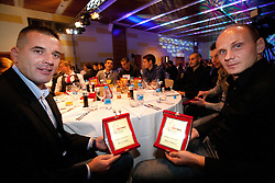 Ermin Hasic and Milan Osterc during the Slovenian men's football player of the year 2011 award at the SPINS XI  Nogometna Gala, on November 24, 2011 in Hotel Mons, Ljubljana, Slovenia. (Photo By Vid Ponikvar / Sportida.com)