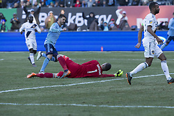 March 11, 2018 - New York, New York, United States - David Villa (7) of NYC FC scores goal during regular MLS game against LA Galaxy at Yankee stadium NYC FC won 2 - 1  (Credit Image: © Lev Radin/Pacific Press via ZUMA Wire)