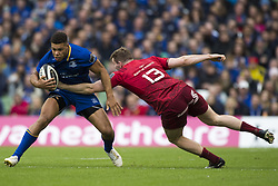October 7, 2017 - Dublin, Ireland - Adam Byrne of Leinster tackled by Chris Farrell of Munster during the warm-up during the Guinness PRO14 match between Leinster Rugby and Munster Rugby at Aviva Stadium in Dublin, Ieland on October 7, 2017  (Credit Image: © Andrew Surma/NurPhoto via ZUMA Press)