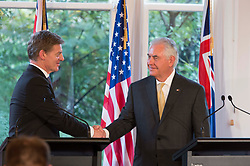 June 6, 2017 - Wellington, New Zealand - U.S. Secretary of State Rex Tillerson, right, shakes hands with New Zealand Prime Minister Bill English following a joint press conference at Premier House June 6, 2017 in Wellington, New Zealand. (Credit Image: © Ola Thorsen/Planet Pix via ZUMA Wire)