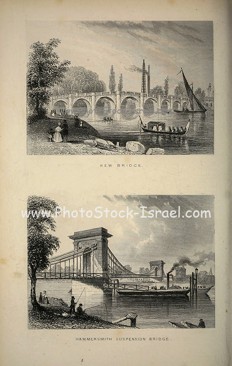 London Kew Bridge and Hammersmith Suspension Bridge From the book Illustrated London, or a series of views in the British metropolis and its vicinity, engraved by Albert Henry Payne, from original drawings. The historical, topographical and miscellanious notices by Bicknell, W. I; Payne, A. H. (Albert Henry), 1812-1902 Published in London in 1846 by E.T. Brain & Co
