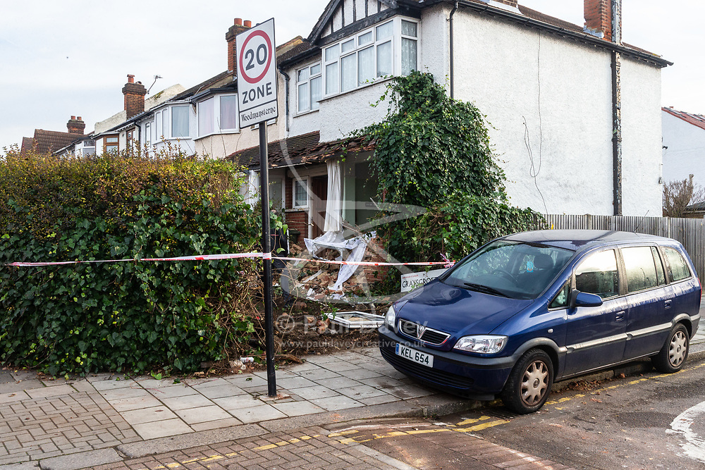 The scene at the corner of Grayscroft Road and  Streatham Vale in South London where a 118 bus crashed into a house on December 26th. The house was empty at the time, the tenants who lived there having a lucky escape as they had vacated the premises on Christmas Eve. LONDON, December 27 2018.