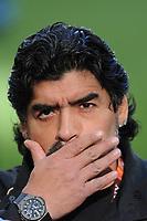 FOOTBALL - FIFA WORLD CUP 2010 - 1/4 FINAL - ARGENTINA v GERMANY - 3/07/2010 - DIEGO MARADONA (ARGENTINA COACH)<br /> PHOTO FRANCK FAUGERE / DPPI