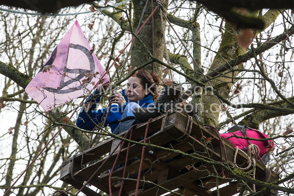 Harefield, UK. 20 January, 2020. An activist waves an Extinction Rebellion flag from a pallet high in a tree at the Colne Valley wildlife protection camp. Extinction Rebellion, Stop HS2 and Save the Colne Valley had reoccupied the camp two days before as part of an ongoing attempt to protect ancient woodland threatened by the HS2 high-speed rail link after a small group of Stop HS2 activists had been evicted by bailiffs over the course of the previous two weeks. 108 ancient woodlands are set to be destroyed by the high-speed rail link.