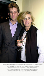 MR TOM MCFARLANE and BECKY, MARCHIONESS OF BLANDFORD, at a party in London on 13th November 2001.OUE 86