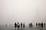 Moscow, Russia, 07/08/2010. .Early afternoon Red Square obscured by the worst smog so far in the record high temperatures of the continuing heatwave. Peat and forest fires in the countryside surrounding Moscow have resulted in the Russian capital being blanketed in heavy smog.