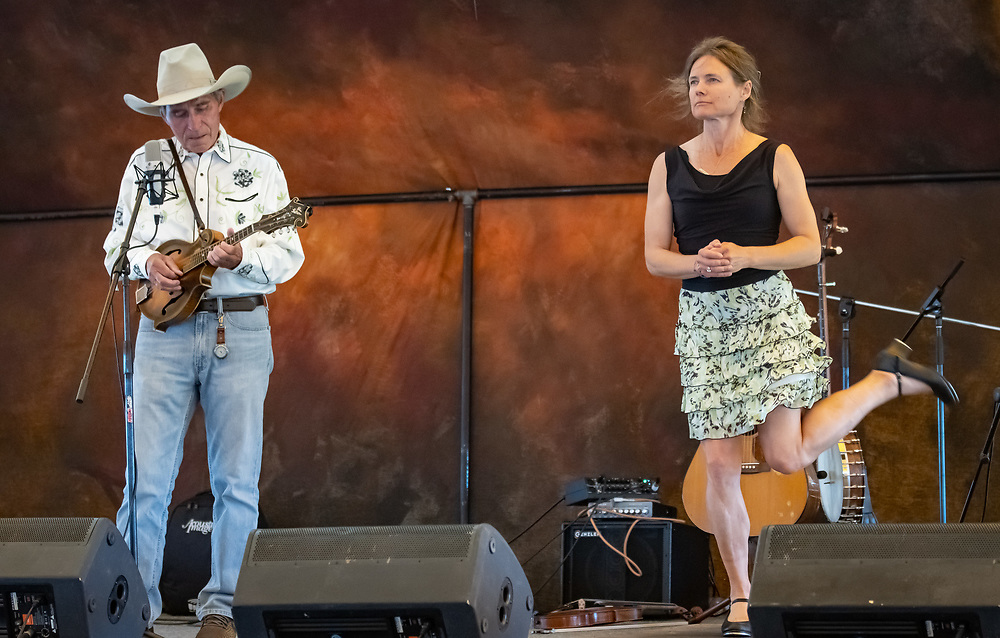 Ron Thomason and Heidi Clare entertain the crowd at the 2019 High Mountain Hay Fever Bluegrass Festival.